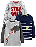 Simple Joys by Carter's Boys' Toddler 3-Pack Graphic Long-Sleeve Tees, Dino/Monster/dragon, 4T