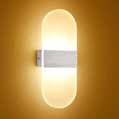 Luz de pared LED Lámpara de escalera de pared moderna Lámpara de espejo Luz de noche de dormitorio Iluminación interior 6W 12W Pasillo Ático Silver-ROUND_6W golden_Warm White(2700-3500K): Amazon.es: Iluminación