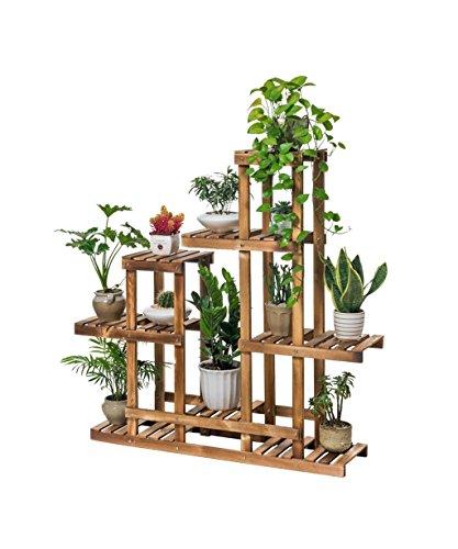 LB Fauteuil en bois massif Cadre de bonsaï de plancher Pot à fleurs multicouches Séjour avec balcon Étagère à fleurs Étagère de pot de montage
