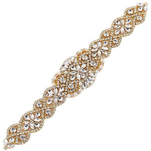 Gold Rhinestone Beaded Belt Applique Sew Iron on Crystal Trim for Wedding Dress Sash Bridal Bridesmaid Gown Womens Prom Formal Clothes Bride Keepsake Gifts Jeweled Diamond Embellishments