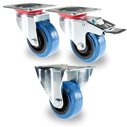 PRIOstahl® Transportrollen blau | 80mm 100mm 125mm | 100-160KG | Fest & drehbar | blue wheels | Lenkrolle 125mm | Elastic-Gummi