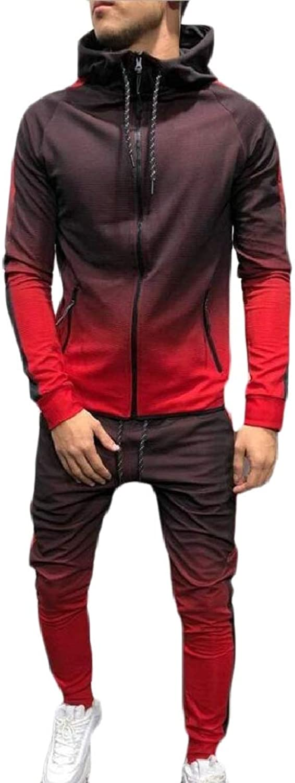 TymhgtCA Men's Casual Hooded Sweatshirt Top Pants Sets Sports Suit Tracksuit