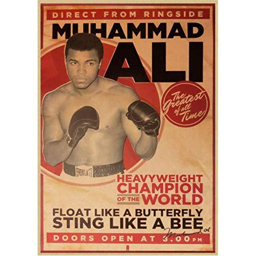 yitiantulong Druck Auf Leinwand Muhammad Ali Vintage Poster Retro Bar Cafe Innendekoration Malerei Filmplakat Wandaufkleber A198 (50X60Cm) Ohne Rahmen