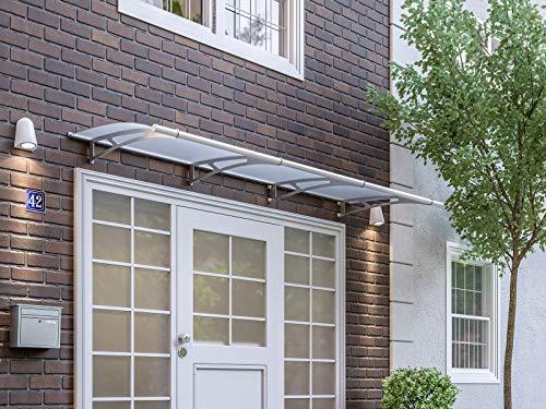Schulte Vordach 270x95 cm Haustür Überdachung Edelstahl rostfrei Acrylglas durchgehend und milchig Pultvordach LT-Line