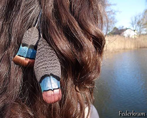 Pfautruthahn Braun/Petrol/Bronze Feder Haar Extension, Haarschmuck Clips Haarspange Federschmuck handgemacht