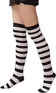 71fe856a8cb66 Doitsa 1 Paire Chaussettes Montantes pour Femme Fille - Chaussettes de Genou  - Chaussettes rayées -