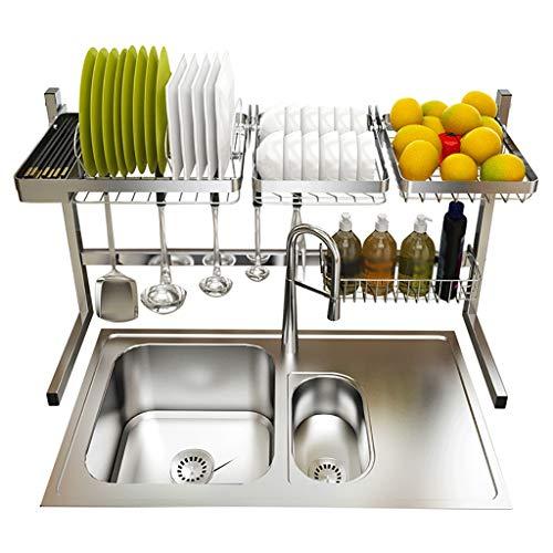 WYQ Égouttoir Vaisselle INOX, sur Le lavabo égouttoirs Vaisselle, Cage à Couverts, Porte-Baguettes, Rack d'épicerie (Taille : 83cm × 30.5cm × 53cm)