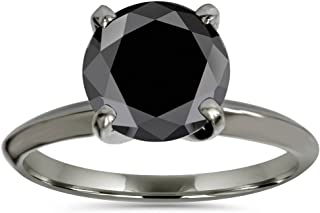 3ct Black Diamond Solitaire Engagement Ring 14K Black Gold