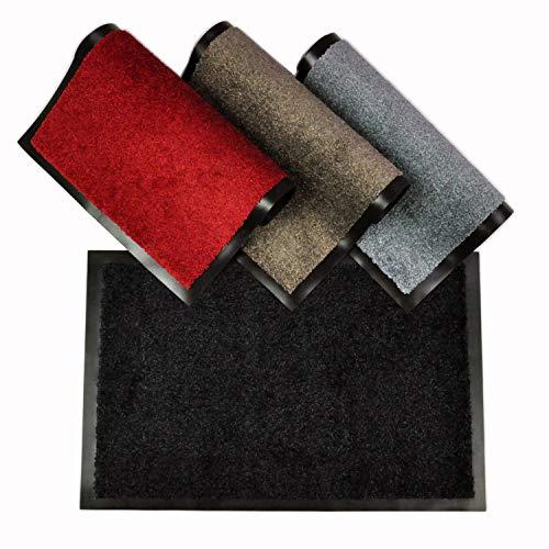 WohnDirect Felpudo Negro • 40x60 cm • para Interior con Borde - Antideslizante y Lavable - Felpudo Apto para calefacción por Suelo Radiante - Felpudo para la Zona de Entrada