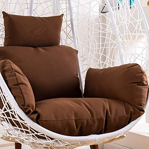 HELEN CURTAIN Hanging Chair Cushion, Chair From Egg Shape Skates on for Wicker Chairs Hanging with Detachable Pillow Thick Nest, Beige,D