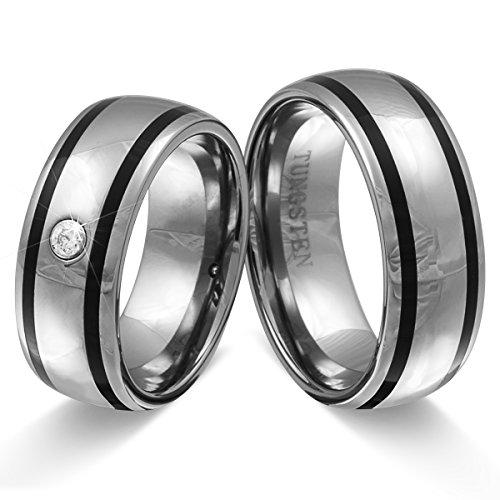 Adomio -Trauringe Partnerringe Verlobungsringe - Ringe im Set aus massivem Wolfram (TUNGSTEN) mit 1 Zirkonia Stein besetzt & gratis Wunschgravur