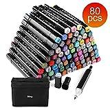 Touchcool Graffiti Stifte, 80 Farbige Marker Stifte Set Fettige Mark Farben Twin Tip Textmarker Markerstifte Set für Studenten Manga Kunstler Design Schule Drawing