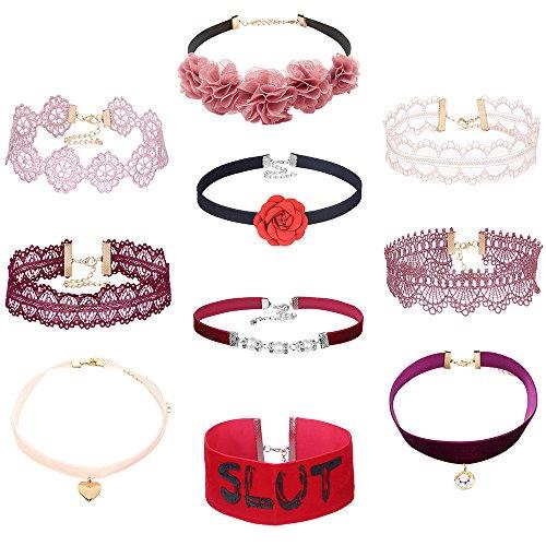 Mingjun 10piezas rosa y rosa de encaje floral Gargantilla de terciopelo rojo amor corazón cute Classic amplia grueso collar con colgante para las mujeres y las niñas
