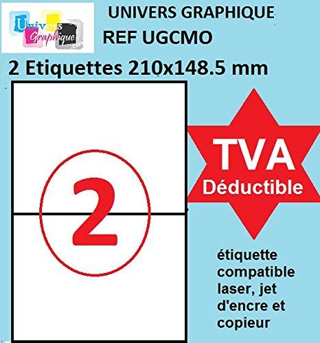 UniversGraphique, 100 Étiquettes Autocollantes sur Feuilles A4, Adhésives Blanches, 210 x 148.5mm, 50 Planches, 2 Étiquettes par Planche, Ref UGCMO1-50
