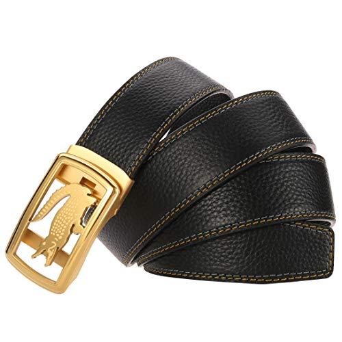 Cinturón Hombres Cocodrilo Rey Modelo Trinquete Hebilla De Cinturón Negro Cuero Real Cinturón Automático 40 44 46 50 Pulgadas Men Belt (Oro negro,125 cm)