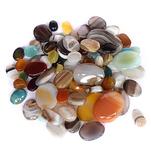 Real Gems Multi Color Natural 200 CT. Piedra de cabujón Oval de ónice, Piedra Preciosa Suelta de Piedra Natal de diciembre, Lote de Piedras Preciosas de ónix para Hacer Joyas