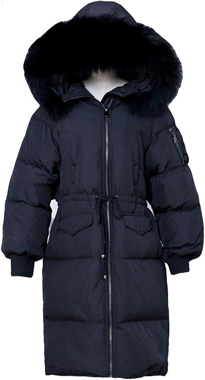 MFrannie Women Fur Hood Thickened Windproof Down Jacket with Adjustable Waist