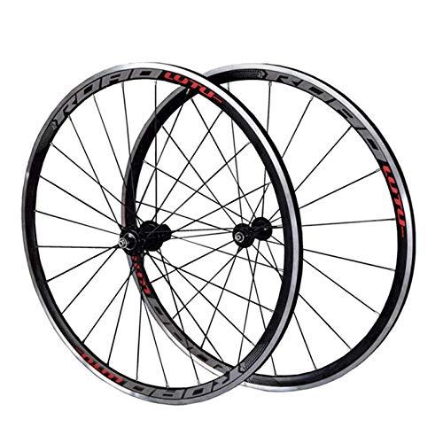 TYXTYX Ejes de liberación rápida Accesorio para Bicicleta Juego de Ruedas para Bicicleta 700C Bicicleta de Carretera Rueda Delantera Trasera Llanta de aleación de Doble Capa 30 mm Freno en V 7-11 v