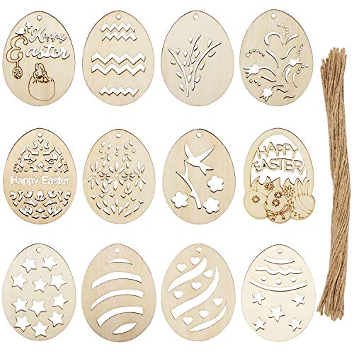 Xingsky 48 Piezas Adornos de Pascua de Madera Huevos de Pascua,Adornos de Madera,Virutas de Madera de Huevo sin Tratar Utilizado para Decoraciones de Bricolaje de Pascua