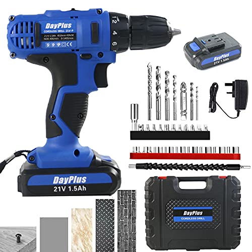 Cordless Combi Drill Power Compact Drill Heavy Duty Variable Speed 1500mAh 2 x Li-Ion Rechargeable Batter 45N.m 18+1 Torque Drill Electric Screwdriver, 10mm Keyless Clutch LED Light Combi Kit