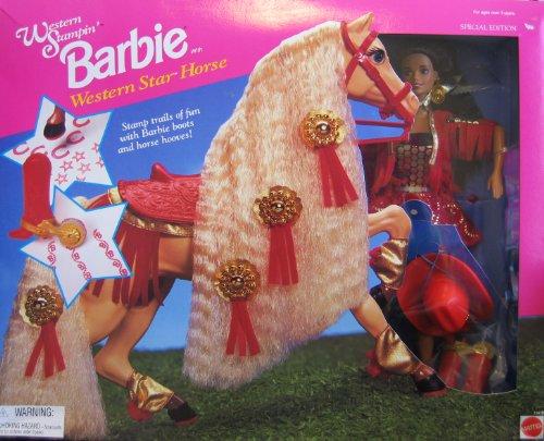 Western Stampin 'BARBIE Doll AA con Western Star Horse Edición Especial (1995)