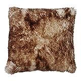Hollert German Leather Fashion Lammfellkissen - Merino Kurze Wolle 40 x 40 cm Echtfell Inclusive Innenkissen aus Daunen Farbe Stracciatella