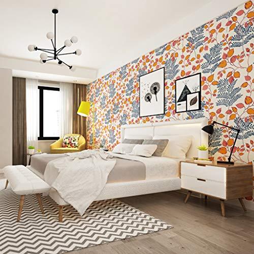 LYC behang lijm plant vliesstof behang modern stijl sticker voor slaapkamer woonkamer TV achtergrond wand decoratie 10 m x 0,53 m/rol BZ0904