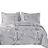 SexyTown - Botanical Comforter Set King Size,All Season Reversible Tree Branch Flower Grey Printed Bedding Set with Pillow Shams 3 Piece Machine Washable