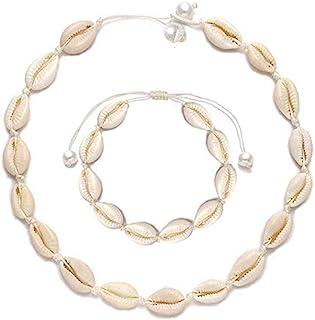 tour de cou en coquillage blanc Cowrie Shell Necklace Chocker Collier de coquillages // bracelet de cheville de style hawa/ïen pour femmes collier de clavicule de shell court avec cordon ajustable