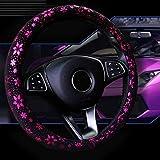 車のステアリングホイールカバーシャイニースノーフレーク4色38センチメートル女性のためのかわいい滑り止め 紫の