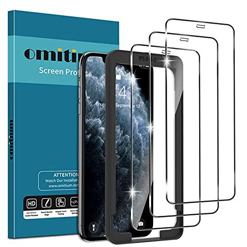 omitium 3 Pezzi Vetro Temperato per iPhone 11 PRO/XS/X (5,8''), 9H Durezza Pellicola Protettiva iPhone XS [Cornice Allineamento Facile] Senza Bolle Anti-graffio Protezione Schermo per iPhone X