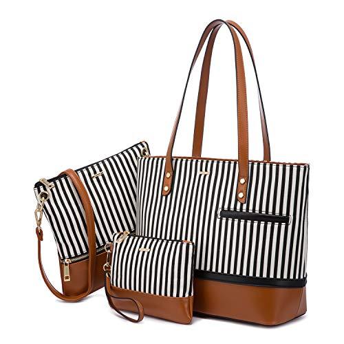 Womens Purses and Handbags Satchel Shoulder Bags Tote Crossbody Top Handle LOVEVOOK Purse Set 3pcs Stripes Style,Brown