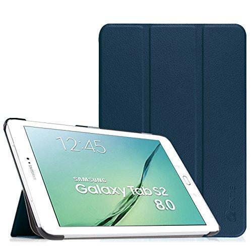 Fintie Hülle für Samsung Galaxy Tab S2 8.0 T710 / T713/ T715 / T719 (8 Zoll) Tablet-PC - Ultra Schlank Superleicht Ständer SlimShell Cover Schutzhülle mit Auto Schlaf/Wach Funktion, Marineblau