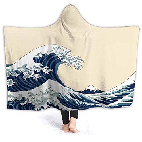 GOSMAO Manta de Franela Tela de Cepillo Extra Suave Súper cálida Mantas para sofás acogedora y Ligera Wave Jap Ese Motif Jap Dibujado Jap 50