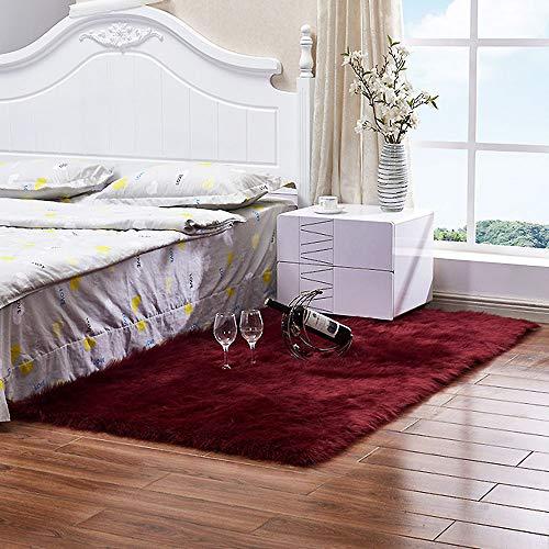 JHWX Alfombra antideslizante de piel de oveja sintética, suave y esponjosa, para sofá, pequeña alfombra, para cocina, dormitorio, baño, sala de estar, sillas de comedor, vino tinto, 50 x 80 cm