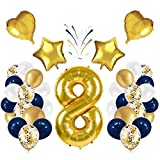 Globo número 8 Korins, número gigante 0 1 2 3 4 5 6 7 8 9 Globo de papel de aluminio con 24 globos de confeti de látex, decoración de aniversario de fiesta de cumpleaños