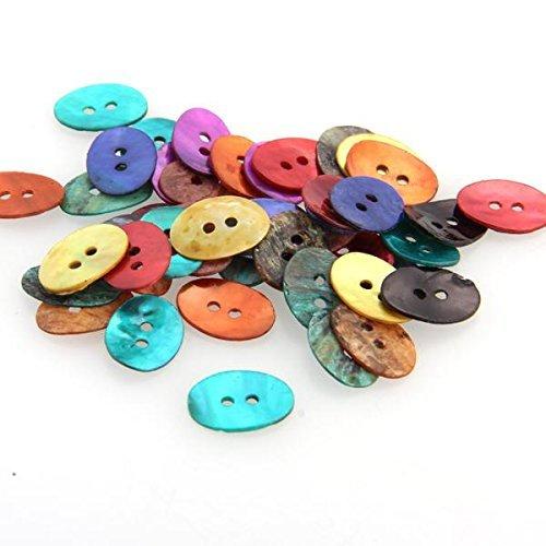 skyllc® 50X Botones Oval de Nácar para Ropa Multicolor Manualidades Bricolaje