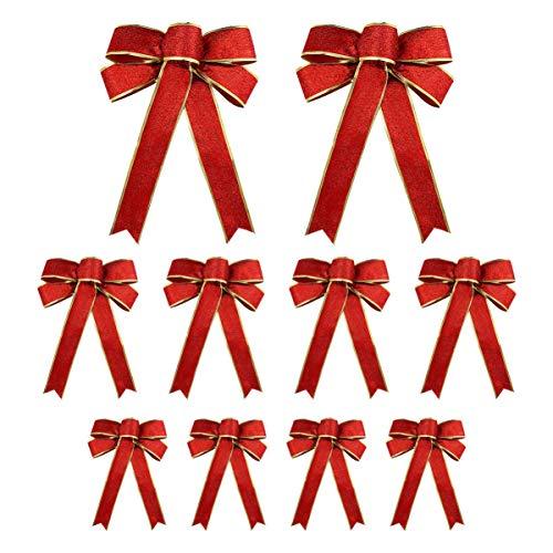 EXCEART 10 Stück Glitzer Weihnachtsbögen Dekorative Weihnachtskranz Ornamente Band Schleifen mit Drehkrawatte für Party Bankett Türen Schränke