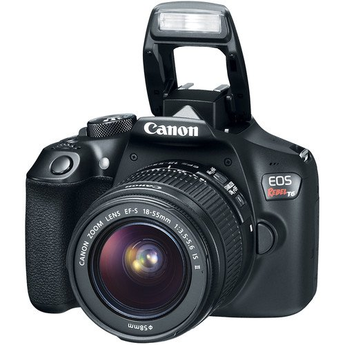 Canon T6 Digital SLR Camera Kit with EF-S 18-55mm Lens (Black) with Free SanDisk Ultra 32GB SDHC Card