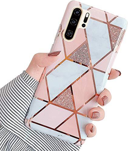 Herbests Kompatibel mit Huawei P30 Pro Hülle Silikon Weich TPU Handyhülle Glitzer Glänzend Marmor Muster Ultra Dünn Schutzhülle Marble Case Kratzfeste Stoßfest Tasche,Rose Gold
