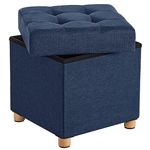 SONGMICS Sitzhocker, faltbare Sitztruhe, gepolstert, mit Deckel, Füße aus Massivholz, platzsparend, bis 300 kg belastbar, für Wohnzimmer, Flur, Kinderzimmer, marineblau LSF14IN