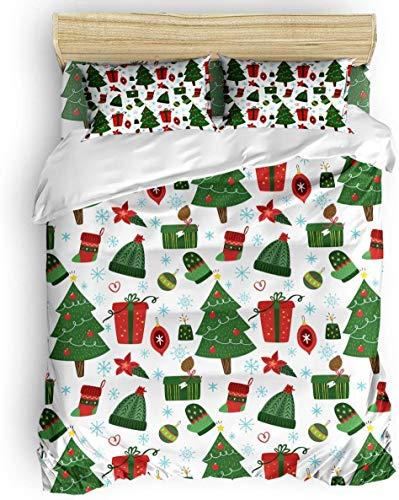 Juego de funda nórdica, 3 piezas, rojo, verde, árbol de Navidad, calcetines, copo de nieve, cristal, juego de cama, 1 funda de edredón, 2 fundas de almohada para niños / niños / adolescentes / adultos