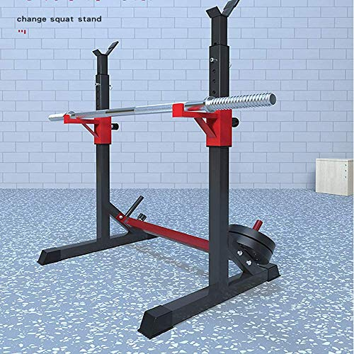 Alderman Adjustable Squat Rack Multi-Function Barbell Rack Dip Stand Barbell Stand Weight Lifting Rack Home Gym Fitness Weight Lifting Bench Press Dipping Station (Red Rack)