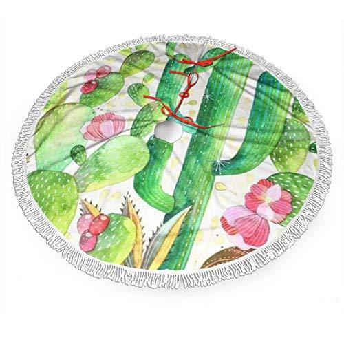 shenguang Falda de árbol de Navidad con Encaje con Flecos Blancos 30 ', Patrón de Cactus de Acuarela Faldas...