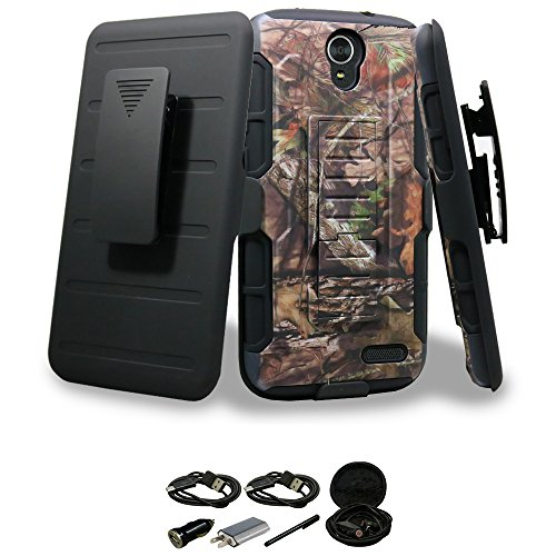 ZTE Grand X3 Case, Mstechcorp, Dual Layer Heavy Duty Shockproof Hybrid Armor Drop Protection Belt Clip Holster Built-in Kickstand Case for ZTE Grand X 3 Z959 Phone - with Accessories (Brown)