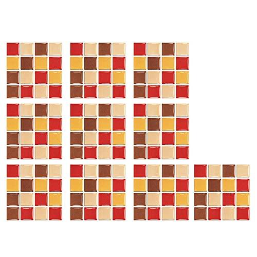 HQL 10 Hojas de Pegatinas de Azulejos de Mosaico, Papel Tapiz extraíble 3D, Adhesivo de Pared Autoadhesivo, 10 cm x 10 cm, decoración de la Pared del hogar, para Salpicaduras de Cocina
