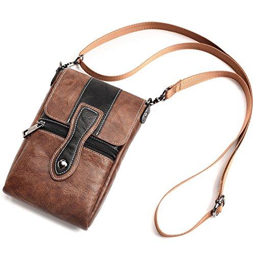 Heren schoudertas lederen taille tas, Cross Body Bag PU lederen mobiele telefoon Holster taille tas tas voor mobiele telefoon tot 6.3