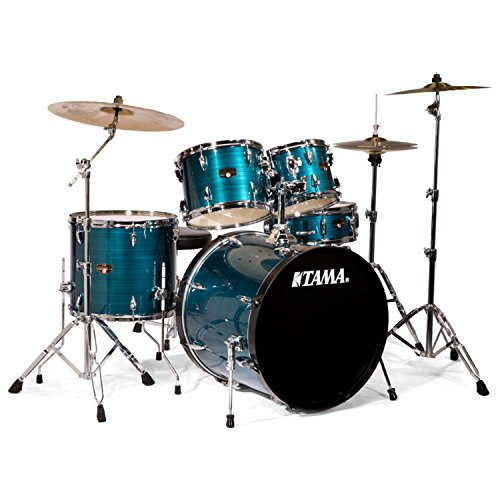 Tama IP52KCHLB Imperialstar 5-Piece Complete Drum Kit with 22' Bass Drum & Hardware, Cymbals - Hairline Blue