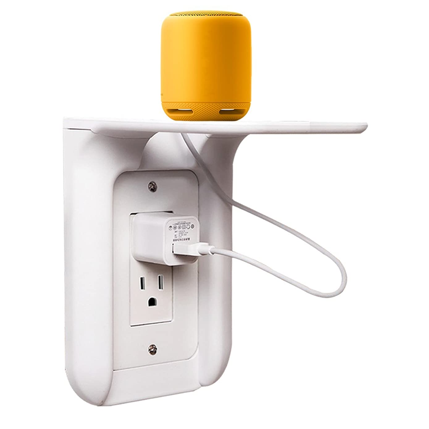 Okela Outlet Shelf Power Perch, Metal Outlet Cover and Plastic Face Plate, Charging Shelf for Devices up To 7 lbs Built in Cable Channel, like Smart Home Speakers Cell Phone etc.