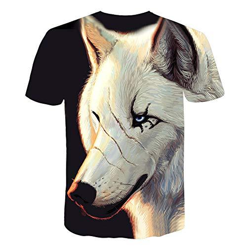 3D impresión Manga Corta Camiseta,Lobo Blanco Suave Suelto Verano tee Shirt para Vacaciones de Verano de la Playa,3XL